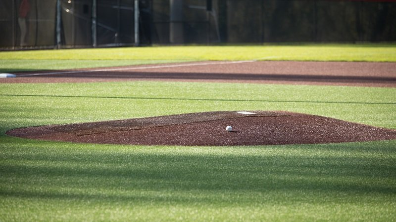 The portable pitching mounds - Main image showing an actual mound on a baseball field